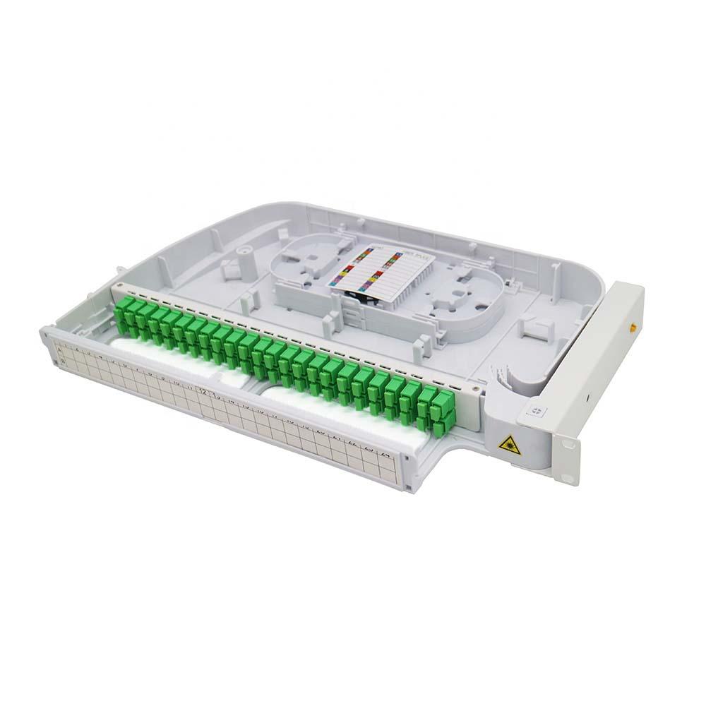 FTTH Plastic ODF 24 puertos Panel de parcheo de 48 fibra optica ODF FDF con adaptador SC/APC