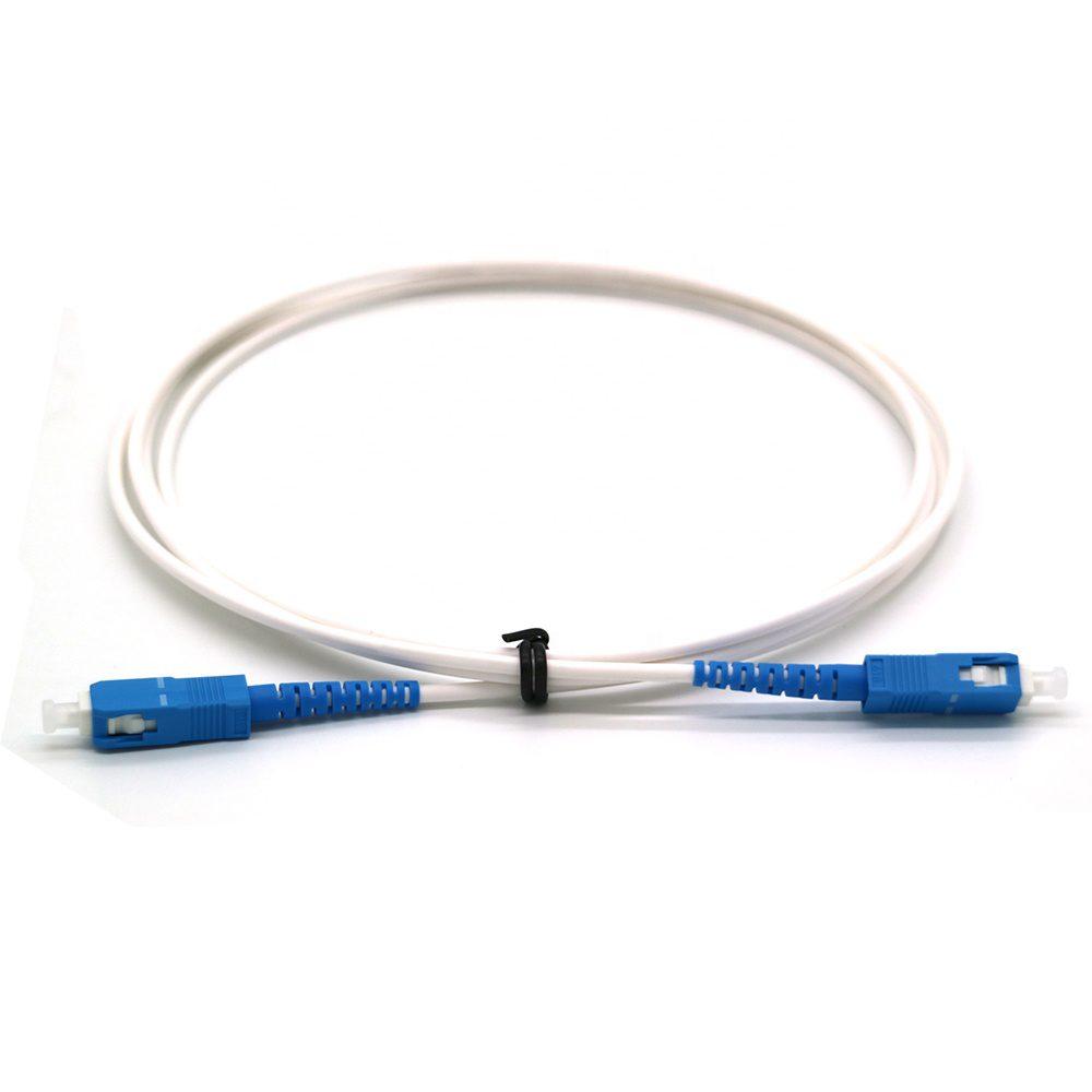SC UPC to SC UPC SM Simplex Optical Fiber Patch Cord 3Meter White Color